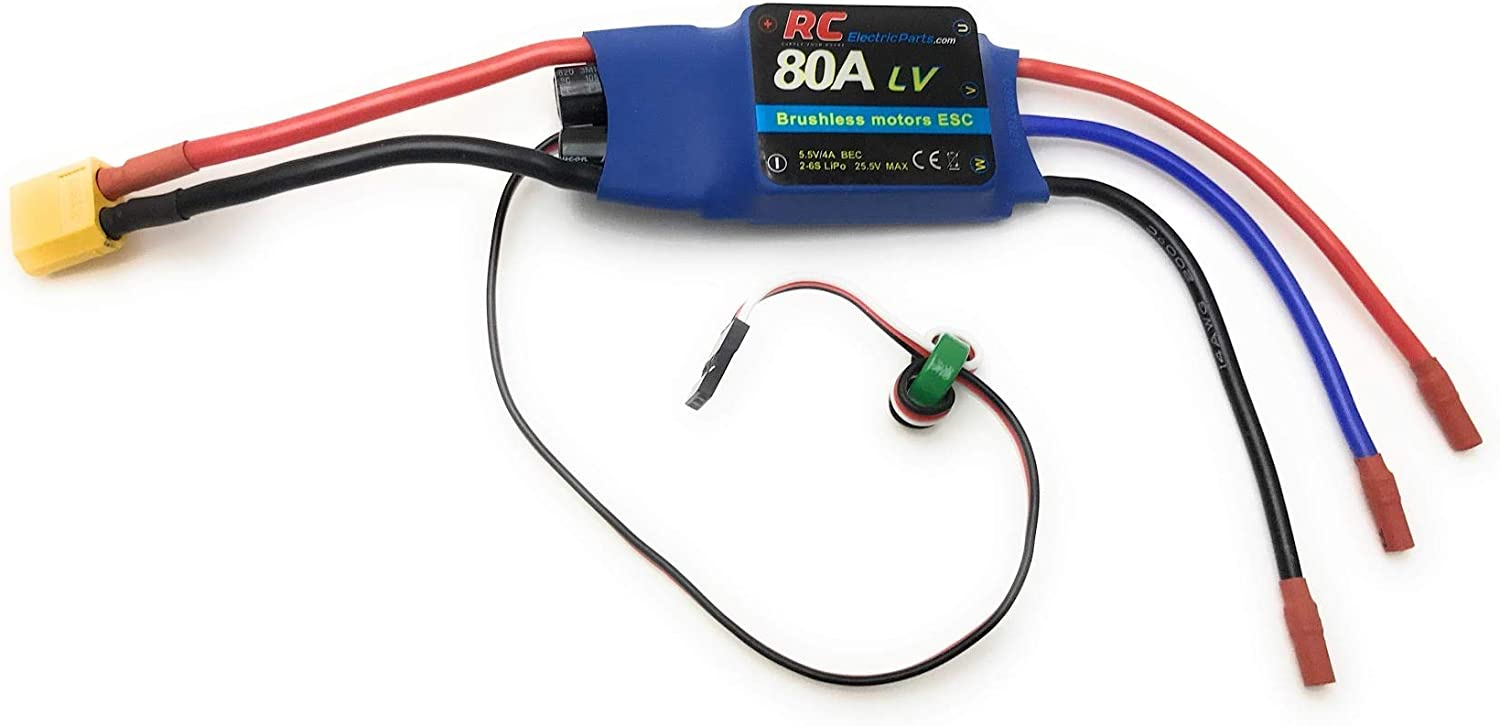 80A RC Electric Speed Controller ESC for Brushless Motors 5.5v 4A UBEC with XT60 & 3.5mm Bullet Plugs