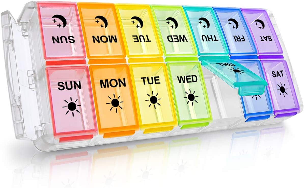 Weekly Pill Organizer 2 Times a Day Extra Large 7 Day Easy Fill 2020 Newest Version Fullicon AM PM Pill Box XL Large Daily Pill Cases Medicine Box - Rainbow (Patent Registered)