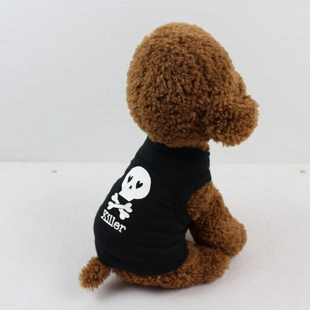Asibeiul Summer Comfortable Fashion Cool Skull Killer Pet T Shirt Puppy Clothing for Small Dog S