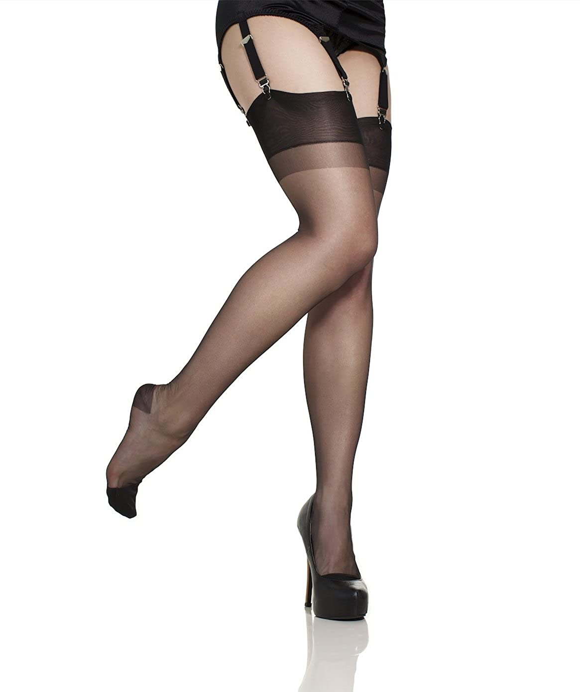 17b7255de Gio Reinforced Heel and Toe (RHT) Ultra Sheer 100% Nylon Stockings at  Amazon Women s Clothing store  Pantyhose