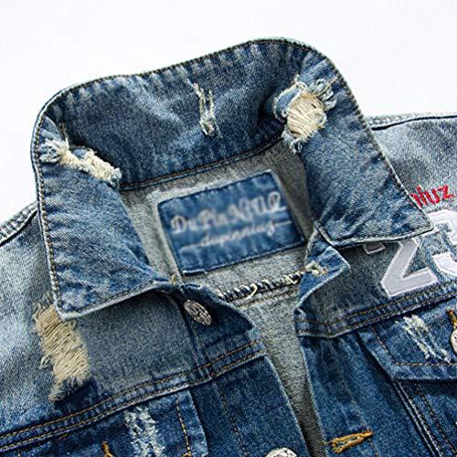 Blouson Tops Homme Manches Veston Yiiquanan En Bleu Classique Denim Veste Gilet Déchiré Jeans Sans 1 Tqz7Px