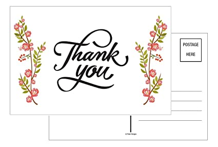 Amazon Com Thank You Cards 50 Count Floral Flower Rose Greeting