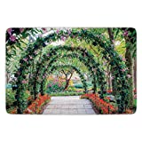 Bathroom Bath Rug Kitchen Floor Mat Carpet,Country Home Decor,Flower Arches with Pathway in Ornamental Plants Garden Greenery Romantic Picture,Green Red,Flannel Microfiber Non-slip Soft Absorbent