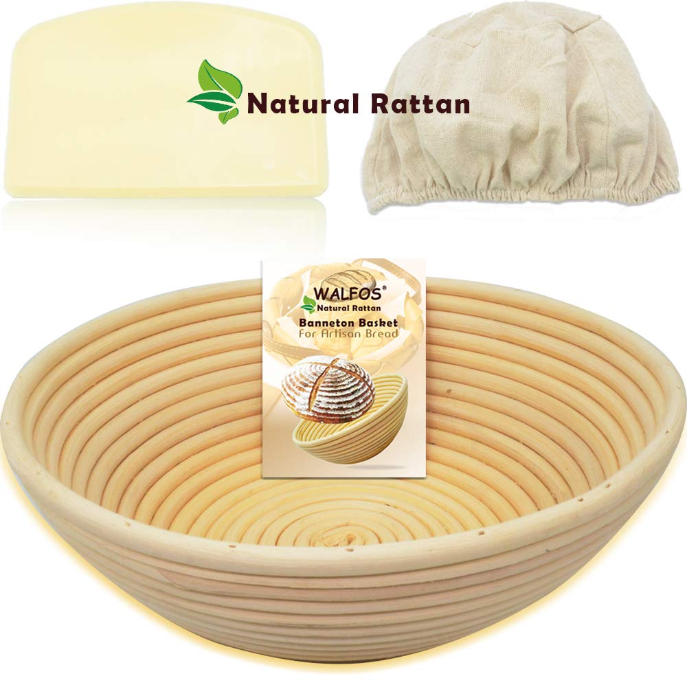 "WALFOS 9"" Round Banneton Proofing Basket Set - French Style Artisan Sourdough Bread Bakery Basket,Dough Scraper/Cutter & Brotform Cloth Liner Included - 100% NATURAL RATTAN"