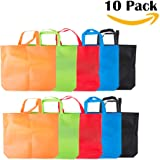 LazyMe Reusable Grocery Bags, Set of 10,Large Tote Bags,18x14x4 inch Merchandise Bags, Multicolors (Multicolors)