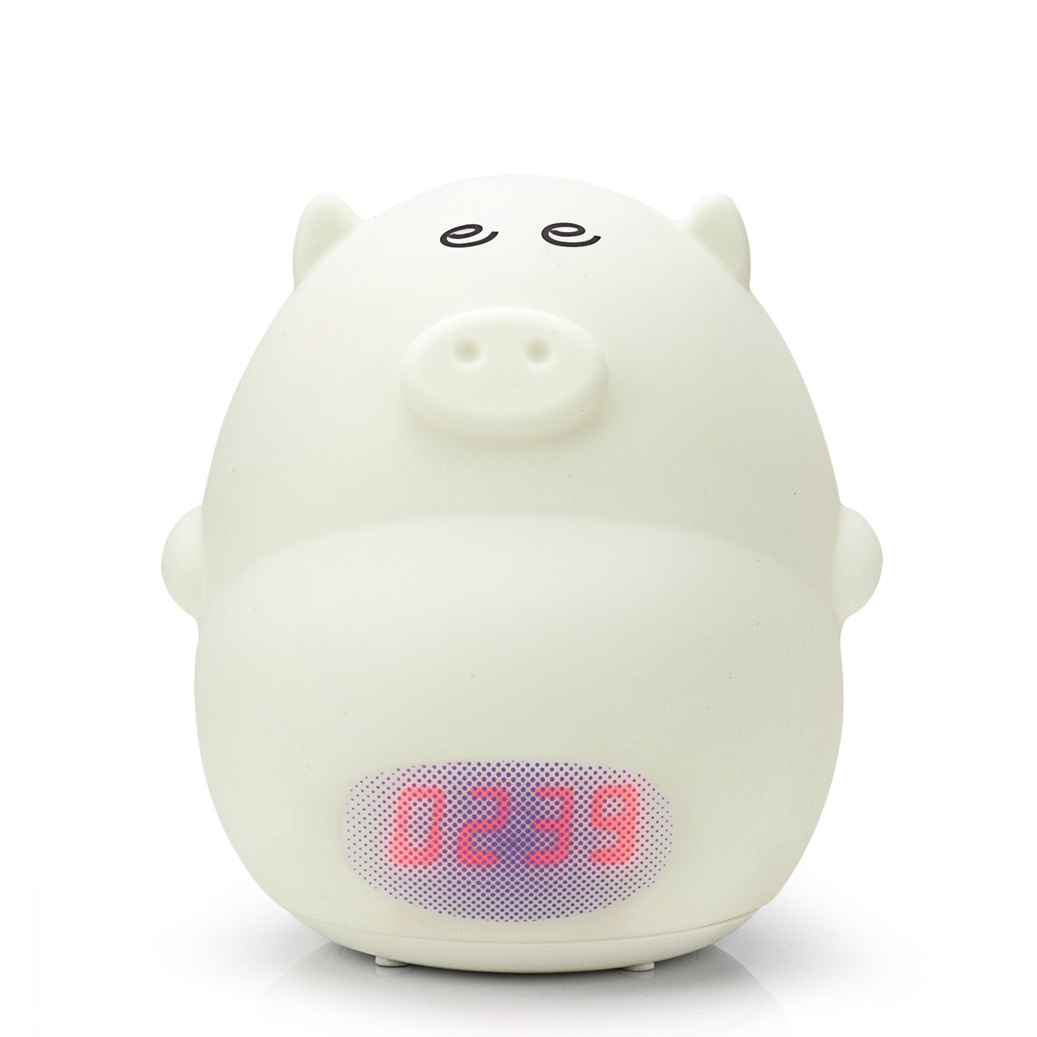 GoLine Alarm Clock Night Light, Cute Pig Soft LED Multicolor Wake Up Lamp for Kids Bedroom, 2 Alarms, 3 Sounds, 7 Colors, Tap Control, Temperature Display, Easy Setting, AC/Battery Powered.(NL014) GL-NL014