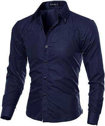 zhxinashu Camisa de Manga Larga de Los Hombres de Moda Estilo Elegante de Los Hombres Camisas Masculinas Ocasionales Slim Fit: Amazon.es: Ropa y accesorios