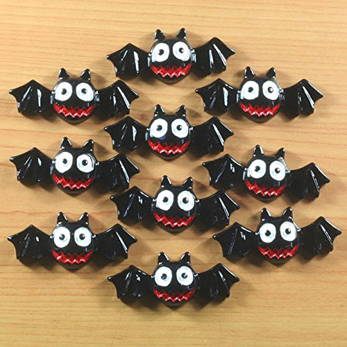 Lot 10 pcs Cute Halloween Vampire Bat for Party Resin Cabochon Flatbacks Flat Back Hair Bow Center Craft Making (Halloween Party Centre)