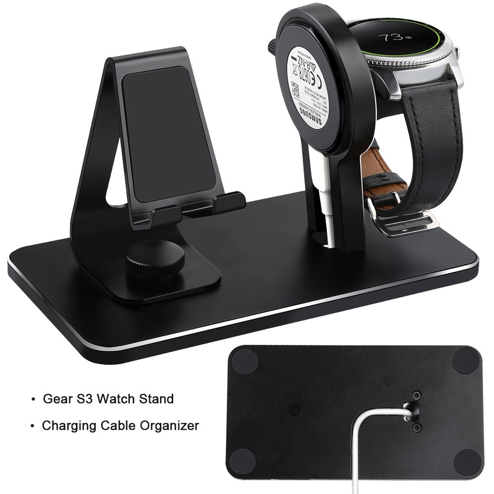 Compatible Samsung Gear S3 Charger Stand, NaHai Charging Dock Samsung Gear S3 Classic Frontier, Smart Watch Cell Phone Cradle (Black) by NAHAI (Image #3)