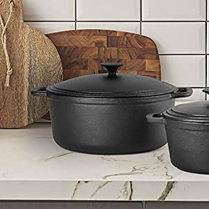 Commercial Chef 6.6 Quart Cast Iron Dutch Oven with Lid and Easy To Grip Handle