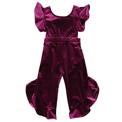 16f6952b5dbb ONE S Baby Kid Girls Vintage Velvet Flare Sleeve Ruffle Romper Bow-Knot  Jumpsuit Outfits (