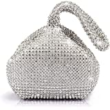 Jian Ya Na Fashion Women Rhinestone Trihedral Clutch Evening Bag Bling Zipper Wedding Purse (Silver)