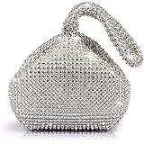 Jian Ya Na Fashion Women Rhinestone Trihedral Clutch Evening Bag Bling Zipper Party Purse