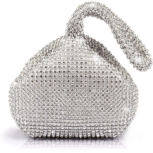 Bag Bling (Jian Ya Na Fashion Women Rhinestone Trihedral Clutch Evening Bag Bling Zipper Wedding Purse (Silver))