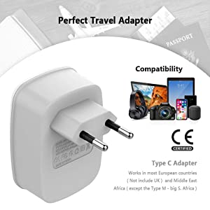 European Travel Plug Adapter, TESSAN International Power Plug with 2 USB Ports, 3 in 1 AC Outlet for USA To Most of Europe EU Spain Iceland Italy (Type C) (Color: 1 Pack)