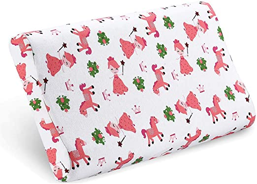 Kids Pillows for Sleeping Childrens Latex Memory Foam Pillow with Organic Cotton Pillowcase for Baby Boys Girls Age 1-8 Years Old Kids Toddler Pillow