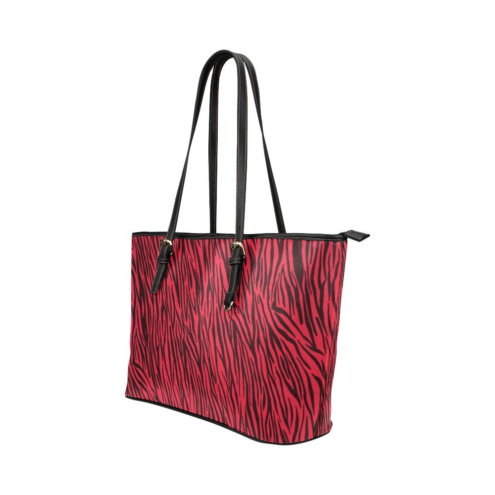 InterestPrint Red Zebra Stripes Animal Print Fur Leather Tote Bag Small