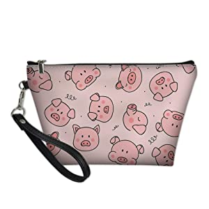 chaqlin Women Girls Cosmetic Make Up Storage Bag Pink Pig Printing Outdoor Shopping Coins Wallet Organizer
