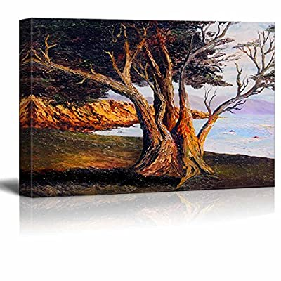 Beautiful Scenery Landscape of Old Tree by The Sea in Oil Painting Style - Canvas Art Wall Art - 12