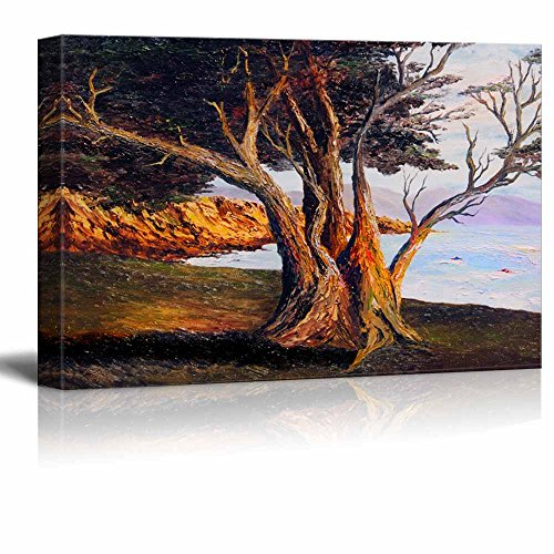 Beautiful Scenery Landscape of Old Tree by the Sea in Oil Painting Style Wall Decor ation