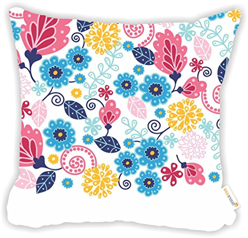 (Rikki Knight Floral Pinks and Blues Illustrated Design Microfiber Throw Décor Pillow Cushion 16
