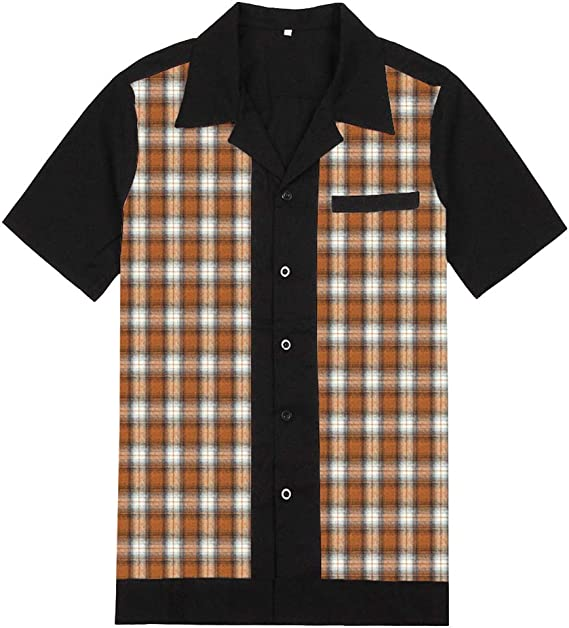 Candow Look Online Rock Revival Men Shirt Cotton Contrast Plaid Rockabilly Bowling Shirt