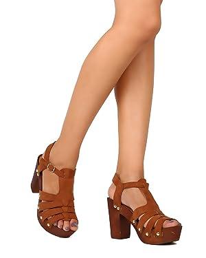 Qupid FE77 Women Faux Suede Peep Toe Strappy Wooden Platform Chunky Heel Sandal - Chestnut (Size: 8.5)
