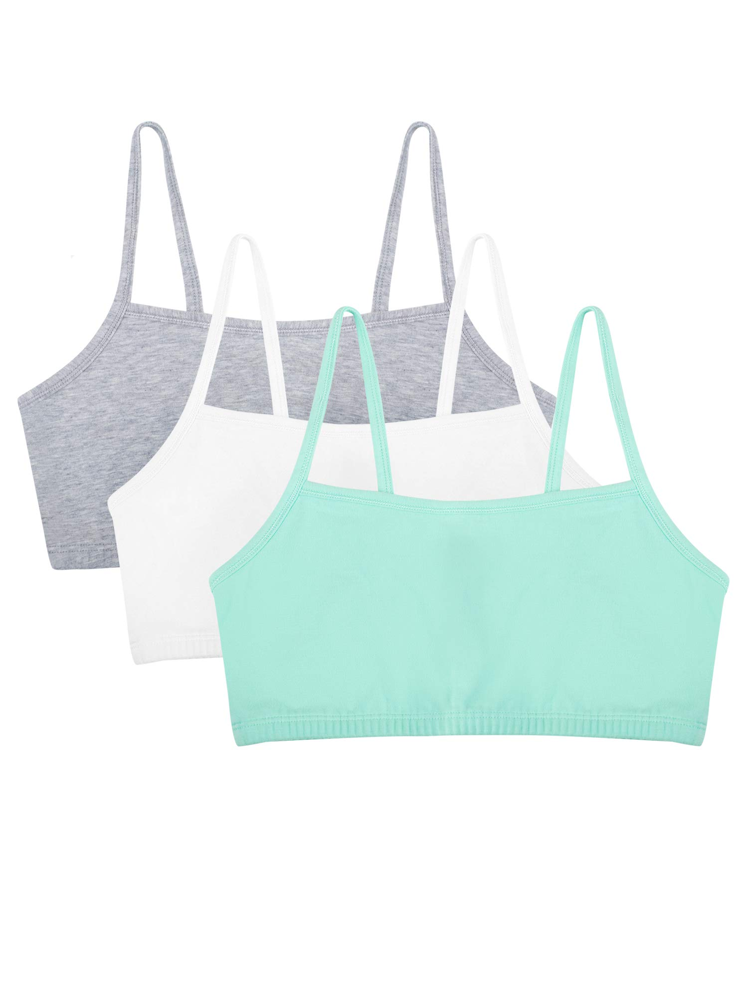 Fruit of the Loom womens Cotton Pullover Sport Bra, mint chip/white/grey heather 32