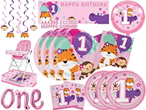 One is Fun Girls 1st Birthday Tiger Monkey & Hippo Zoo Themed Party Supplies Kit - Plates & Napkins for 24 - Giant Party Banner - High Chair Decoration Kit - ONE Balloon Banner - Foil Balloon - Dizzy Dangler Decorations