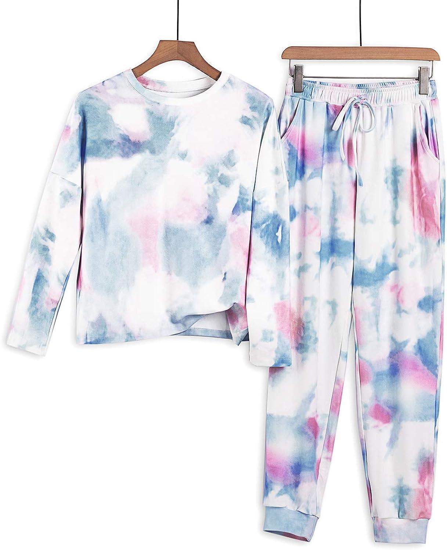 Azokoe Women Tie Dye Printed Pajamas Set Crewneck Long Sleeve Tee and Jogger Pants PJ Set Loungewear Nightwear Sleepwear