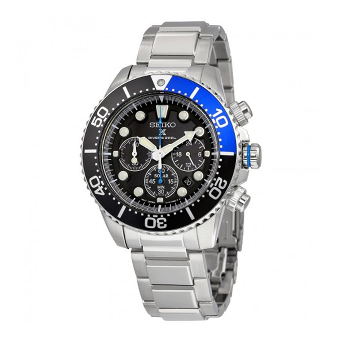 Seiko Men s Silvertone Solar Chronograph Diver Watch