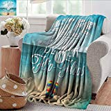 Xaviera Doherty Wearable Blanket Quote,Life is Better in Flip Flops Microfiber All Season Blanket for Bed or Couch Multicolor 35'x60'