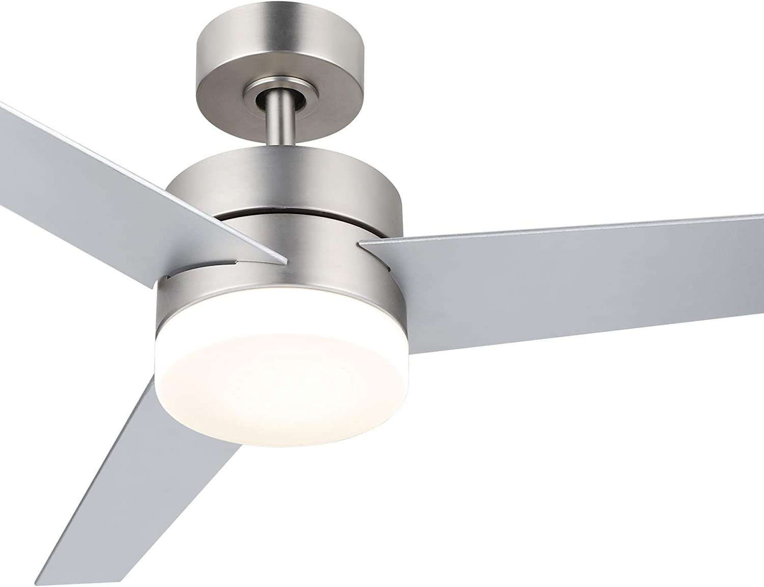 Amazon Com Co Z 52 Modern Ceiling Fan With Lights And Remote Contemporary Ceiling Fans Brushed Nickel Indoor Led Ceiling Fan For Kitchen Bedroom Living Room 3 Reversible Blades In Silver And Walnut Finish