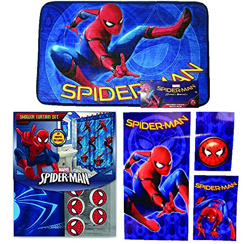Disney Marvel New Shower Curtain & Hooks & Bath Towel & Memory Foam Mat Set (Spiderman, 17pcs Set)
