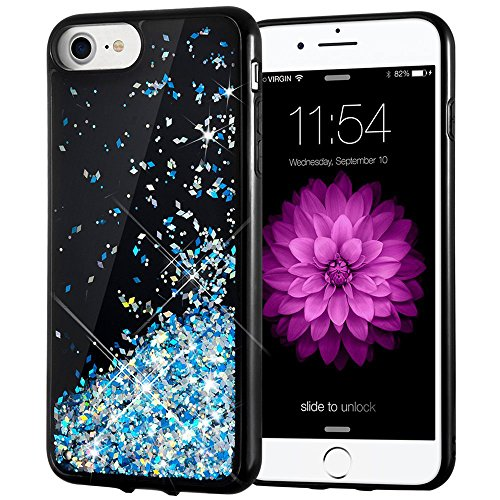 iPhone 7 Case, iPhone 6/7/8 Glitter Case Caka [Starry Night Series] Bling Flowing Floating Luxury Liquid Sparkle TPU Bumper Glitter Case for iPhone 6/6S/7/8 (4.7 inch) - (Blue)