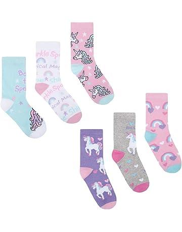 Navy Multi Colour Floral Socks 1 Pair Age 9-11 Girls//KidsSocksSize 3-5 UK