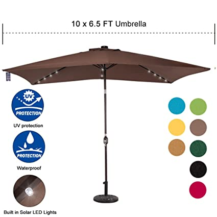 Captivating Sundale Outdoor Rectangular Solar Powered 22 LED Lighted Patio Umbrella  Table Market Umbrella With Crank And