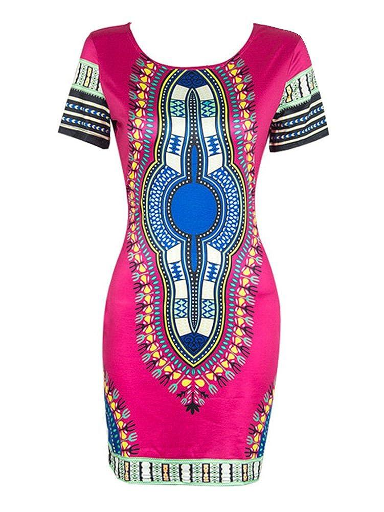 Gladiolus Damen Nationalen Stil Druck Bodycon Kurz/ärmelige Kleid