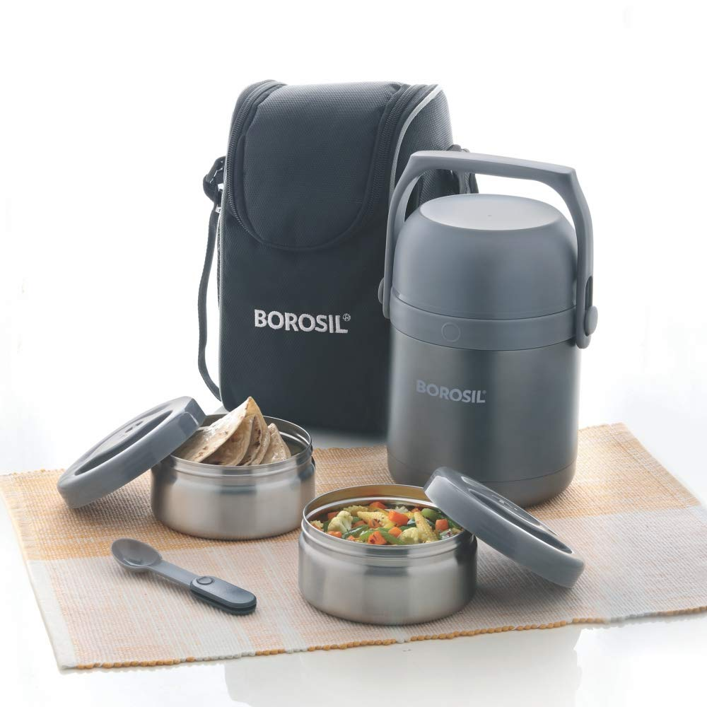 Borosil Hydra Stainless Steel Insulated Lunch Box, 420 ml,