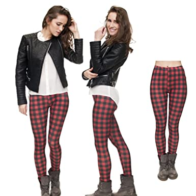 3b091e07909ef3 Trendy ladies leisure leggings 3D digital print Tights red-black plaid  pattern skinny ninth pants: Amazon.co.uk: Clothing
