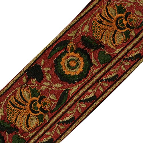 Vintage Sari Border Indian Craft Trim Embroidered Sewing Ribbon Lace Maroon