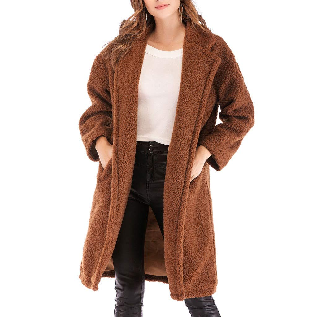 Dainzuy Women's Fuzzy Fleece Coat Warm Winter Lapel Open Front Long Cardigan Overcoat Faux Fur Outwear with Pockets Brown by Dainzuy Women Winter Clothes