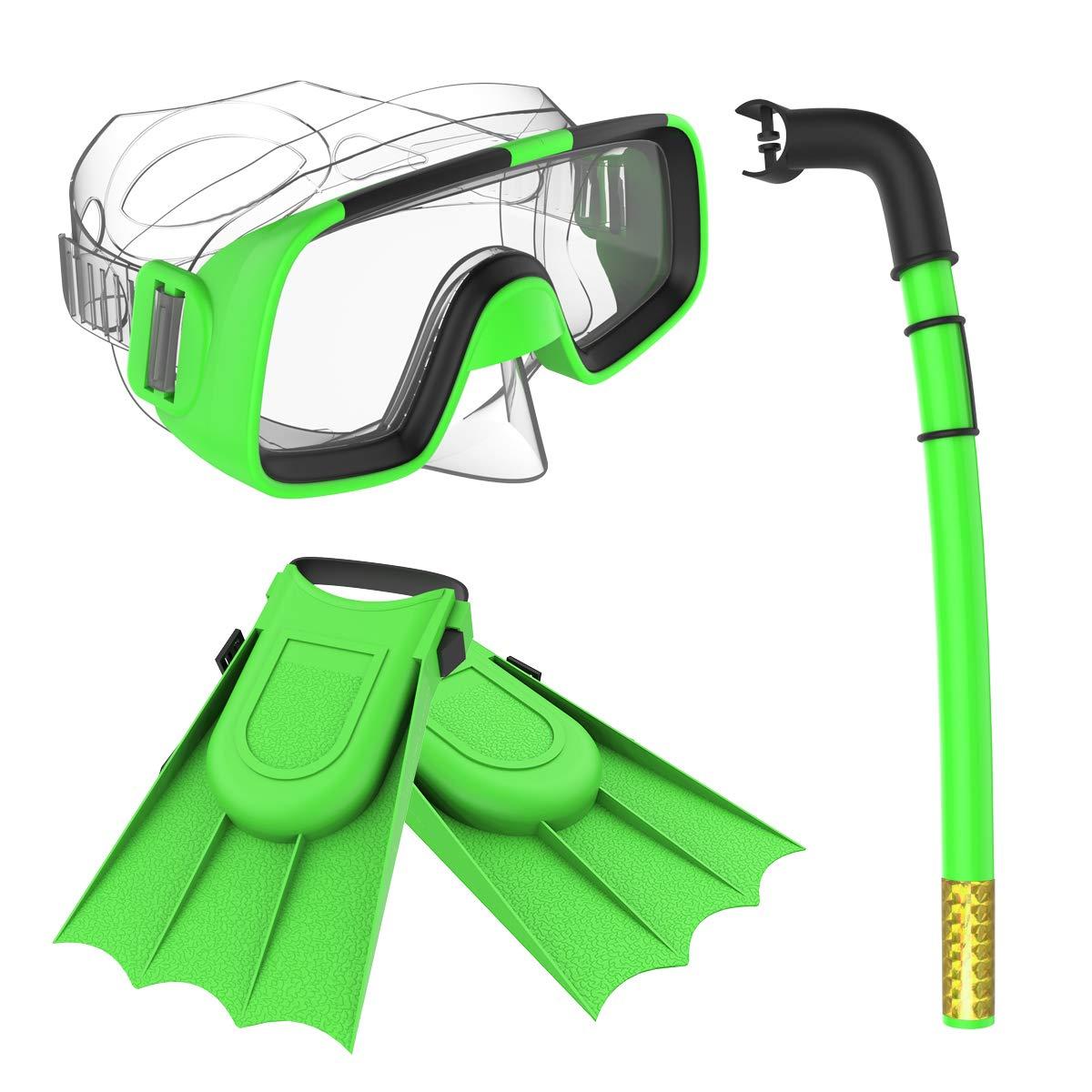 Herbalcandybox Children Kids Swimming Diving Snorkel Breathing Tube Fins Scuba Eyeglasses Set,Green by Herbalcandybox