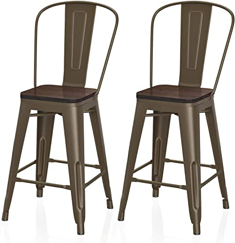 VIPEK 24 Inches Counter Height Bar Chair Commercial Grade Patio Chairs Metal 24″ Seat Height Barstool