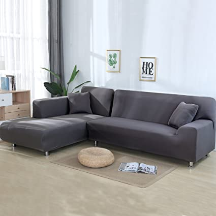 Captivating Cjc Premium Quality Sofa Covers For L Shape, 2pcs Polyester Fabric Stretch  Slipcovers + 2pcs