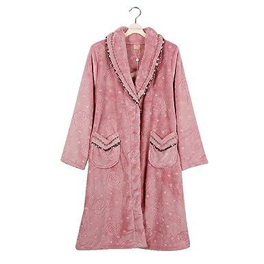 Pijamas Mujer Mujer Otoño Invierno Espesor Pijama Caliente Elegantes Moda Vintage Informales Albornoz Manga Larga V Cuello con Bolsillos Tallas Grandes ...