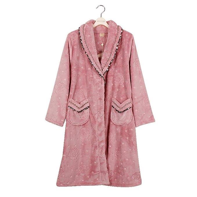 ... Mujer Otoño Invierno Espesor Caliente Pijama Elegantes Moda Basic Vintage Informales Albornoz Manga Larga V Cuello con Bolsillos Tallas Grandes Batas ...