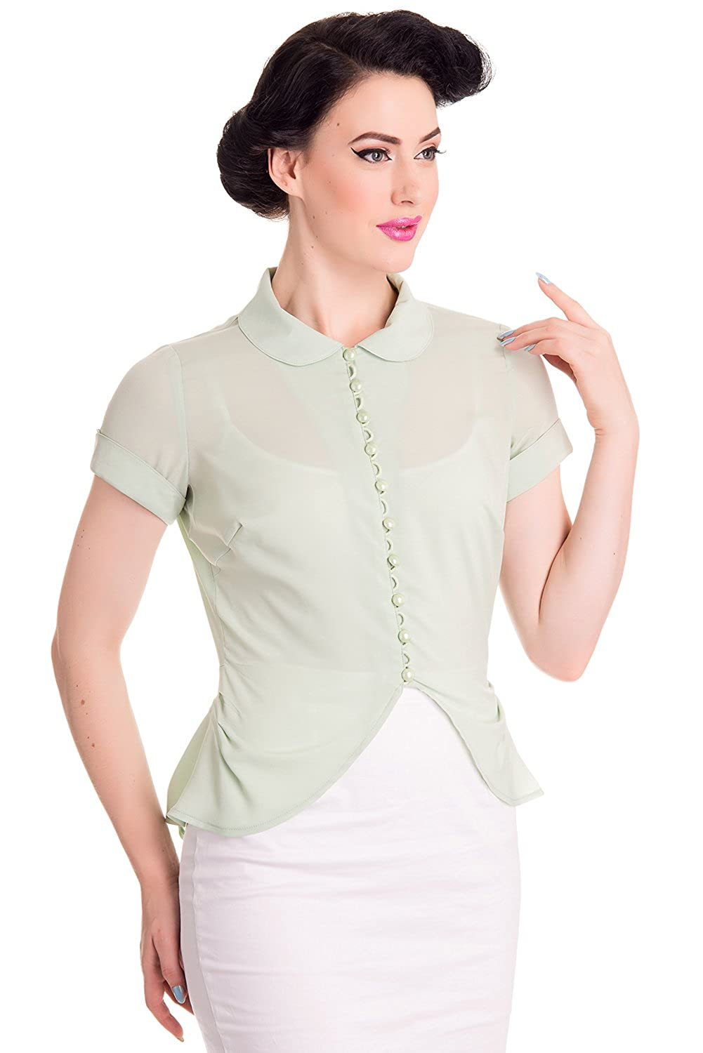 1950s Rockabilly & Pinup Tops, Shirts, Blouses Hell Bunny Betsy 40s 50s Retro Shirt Blouse Top $22.99 AT vintagedancer.com