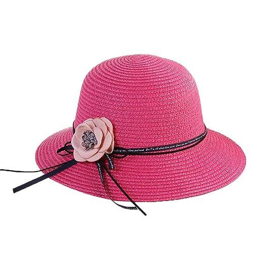 b7826daa3fe61 Vertily Women Floppy Foldable Straw Flower Travel Beach Bucket Outdoor  Visor Hat (C)