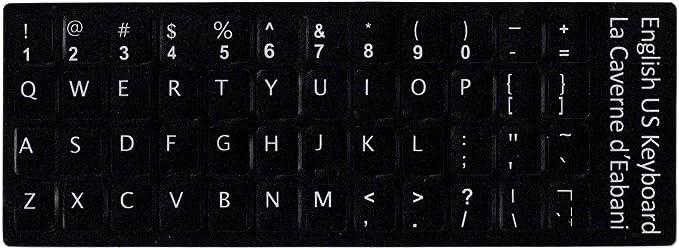 adesivitastiera. it – Pegatinas Letras Teclado USA fondo negro letras blancas